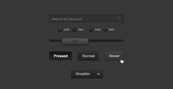 少し暗い UI キット PSD 2.0