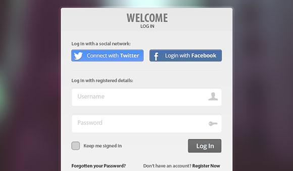 Twitter や facebook のボタンを持つ PSD ログイン フォーム