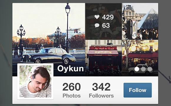 Instagram ウィジェット無料 psd ファイル