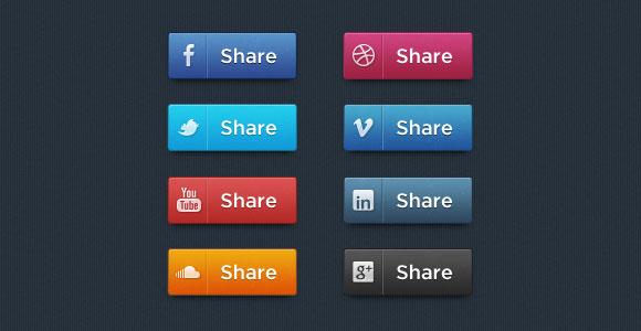 社会的な共有 PSD ボタン