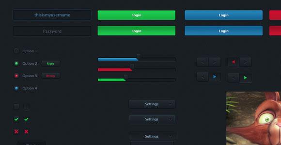 グロー効果 PSD と黒の基本的な UI キット