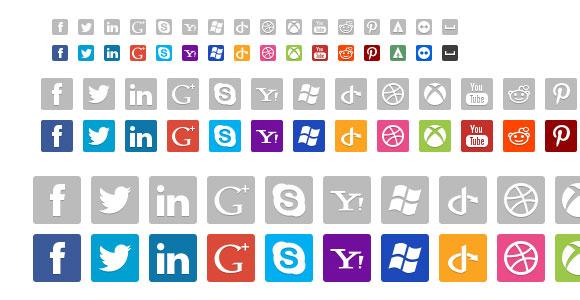 社会ネットワークの PSD アイコン 16、32 & 48 × 48 px