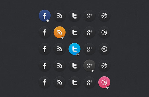 暗いのソーシャル メディアのアイコン PSD