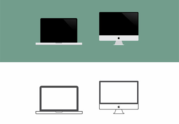 Macbook & iMac の大きなアイコン PSD