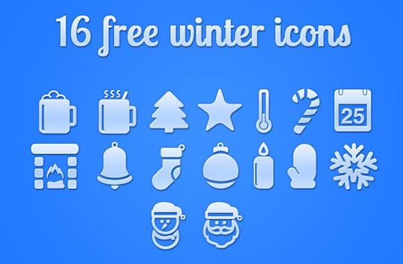 クリスマスの無料 PSD 冬の 16 アイコン