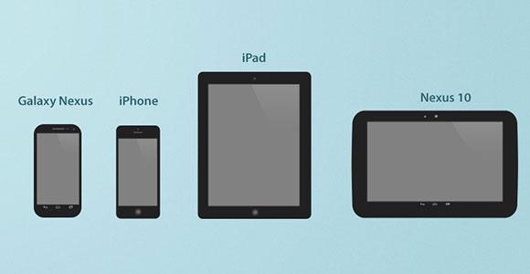 携帯電話とタブレットの大きな PSD アイコン
