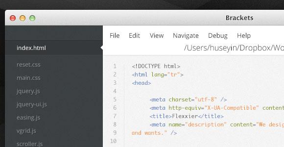ブラケット - PSD をコーディングするためのテキスト エディター UI