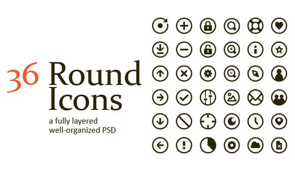 36 無料 PSD ラウンドのアイコン