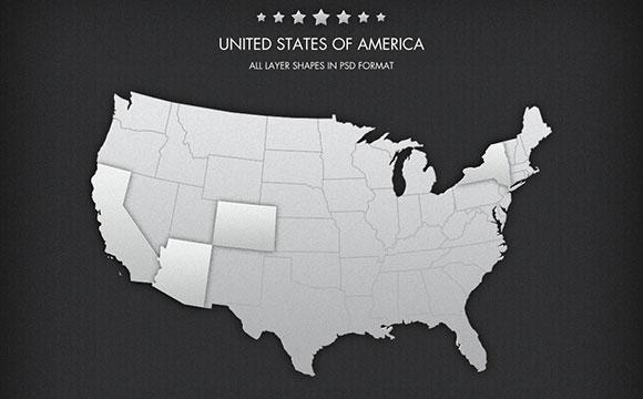 無料 PSD アメリカ地図