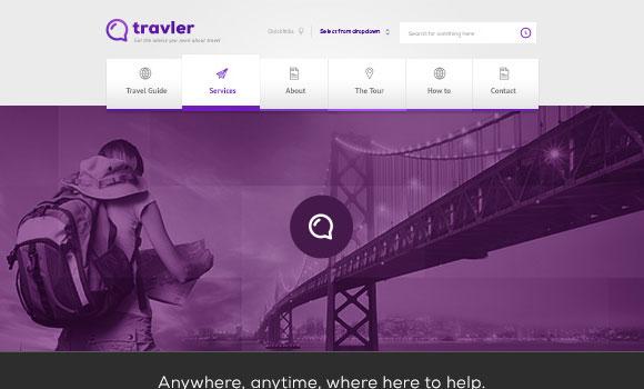 旅行者 - 無料の psd ファイルのウェブ デザイン