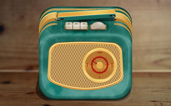 ビンテージ ラジオ無料 PSD アイコン