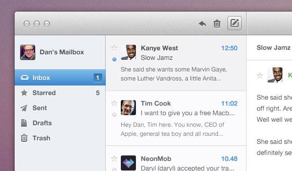 メール アプリの UI PSD