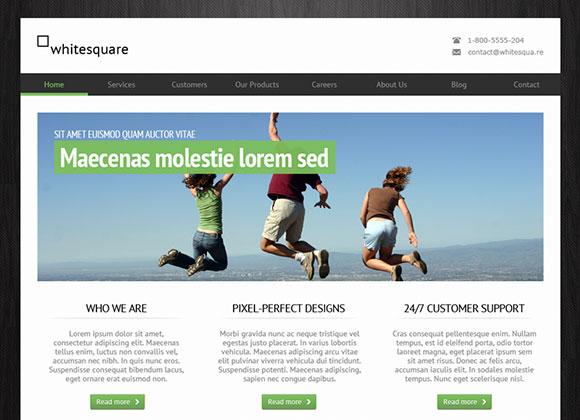 緑がかった無料 PSD のウェブサイト テンプレート