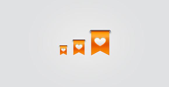 無料 PSD オレンジ リボン