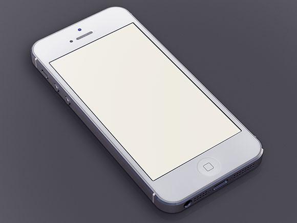 PSD の白い iPhone5 モックアップ