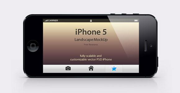 iPhone 5 PSD 風景モックアップ