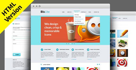 BisLite: 無料の HTML のウェブサイト テンプレート