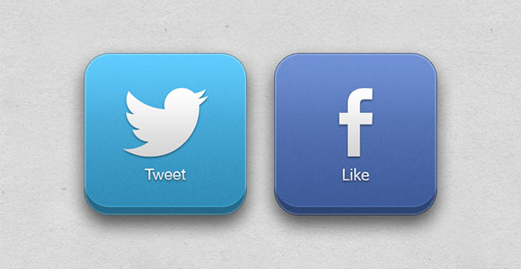 Facebook と Twitter の PSD の 3 D ボタンFacebook と Twitter の PSD の 3 D ボタン