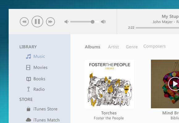 iTunes UI デザインの psd ファイル