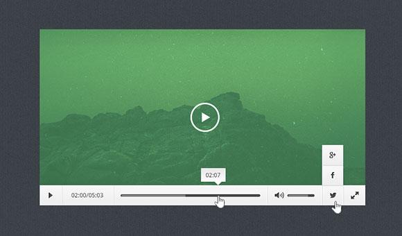 無料の PSD を平らな、最小限のビデオ プレーヤー