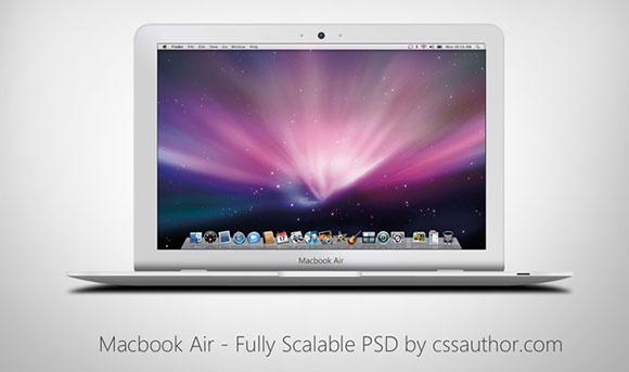 Macbook 空気 - 完全にスケーラブルな PSD モックアップ