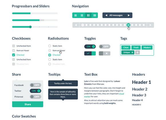 無料の PSD & フラット HTML UI キット