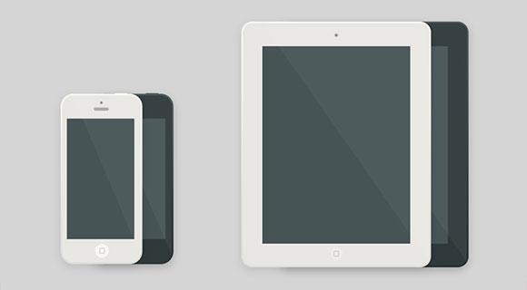 iPhone & 計算されたフラット PSD モックアップ