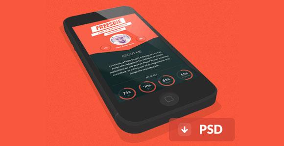 iPhone フラット 3 D PSD モックアップ