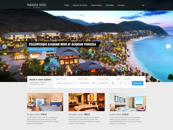 パラダイス ホテル - PSD のウェブサイト テンプレート