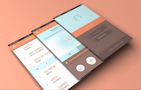 PSD の携帯電話の音楽アプリ