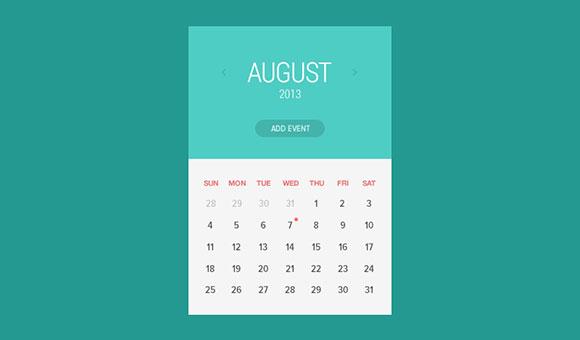 フラット カレンダーのウィジェット PSD