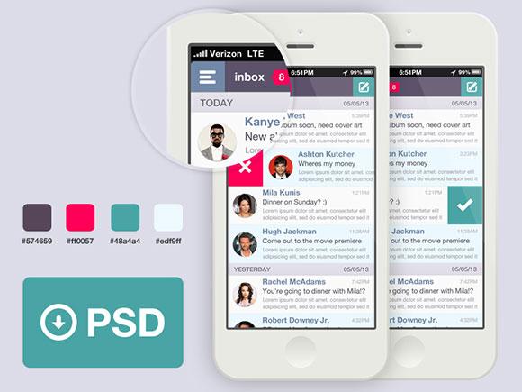 メール アプリ テンプレート psd ファイル