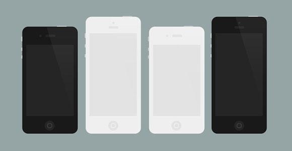 IPhone 4/5 モックアップ PSD をフラットします。