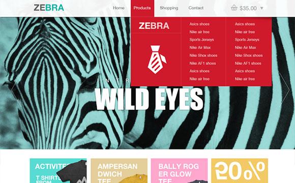 シマウマ: e コマースのウェブサイト テンプレート psd ファイル