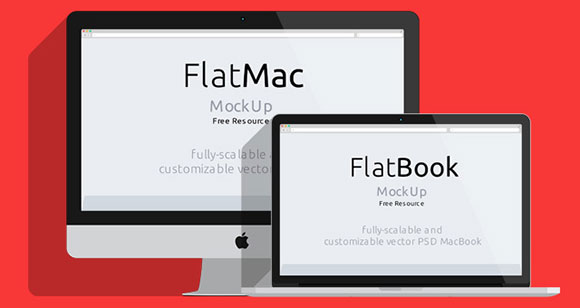 iMac/Macbook PSD フラット モックアップ