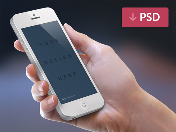 iPhone + 手 PSD モックアップ