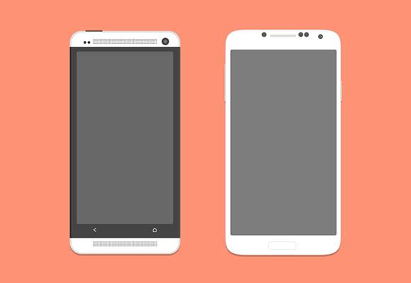 HTC の 1 つとギャラクシー S4 PSD モックアップ