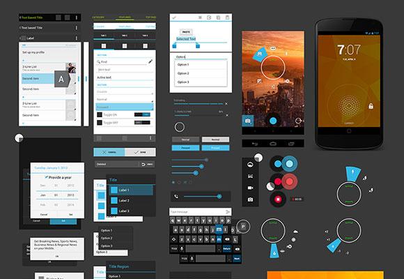 アンドロイド 4 UI デザイン キット PSD