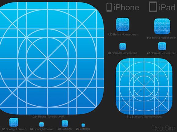 iOS7 アイコン テンプレート psd ファイル