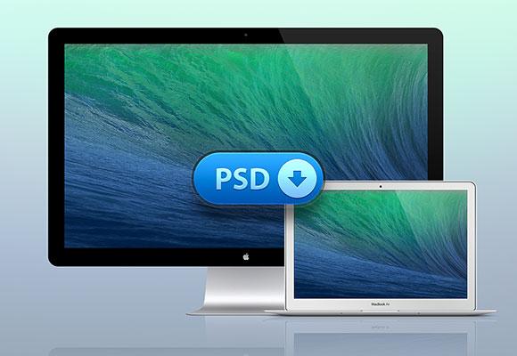 Macbook Air + サンダー ボルト画面モックアップ