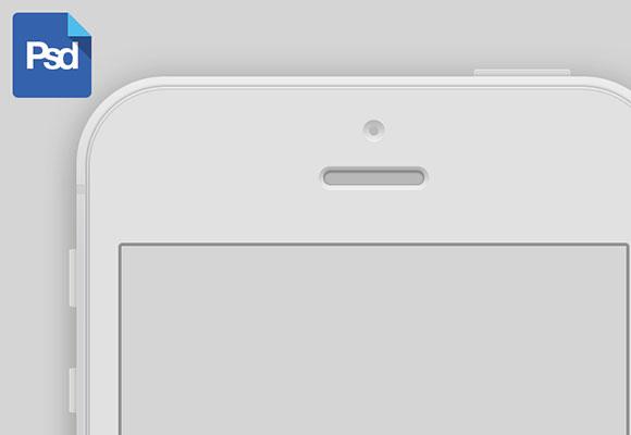 白い iPhone 5 モックアップ PSD