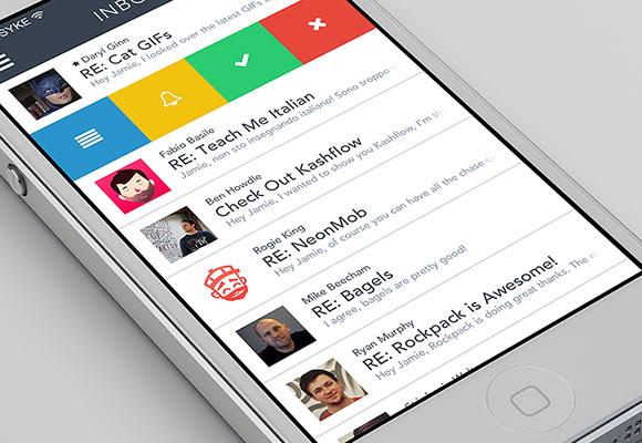 メール アプリのコンセプト PSD