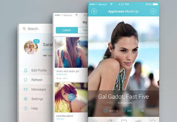 アプリの画面の PSD のモックアップ