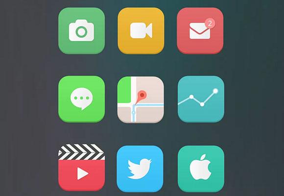 再設計された iOS7 アイコン PSD