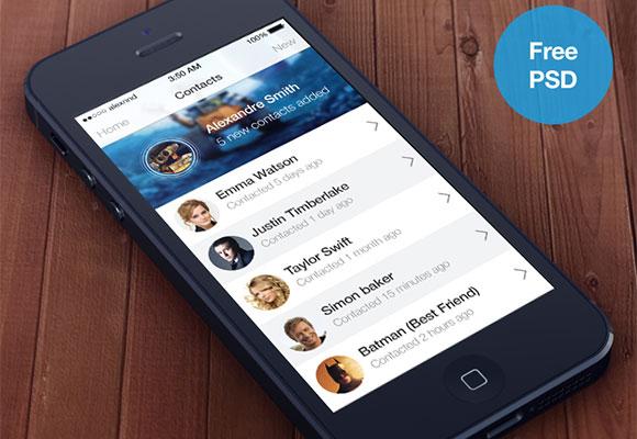 iOS7 スタイルの連絡先アプリ