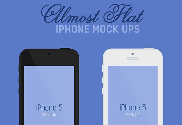 ほぼ平坦な iPhone のモックアップ