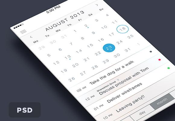 iOS7 カレンダー PSD