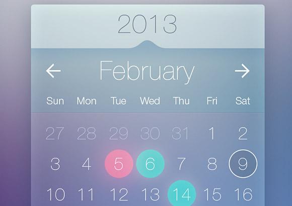 PSD は透明なカレンダーのウィジェット