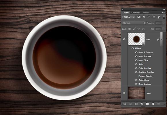 1 つの層のコーヒー カップ PSD