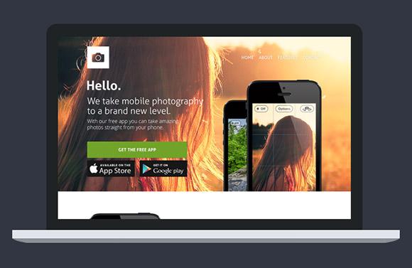 ウェブサイト テンプレートの PSD のアプリ